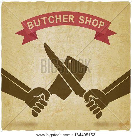 crossed butcher knives old background. butcher shop concept design. vector illustration - eps 10