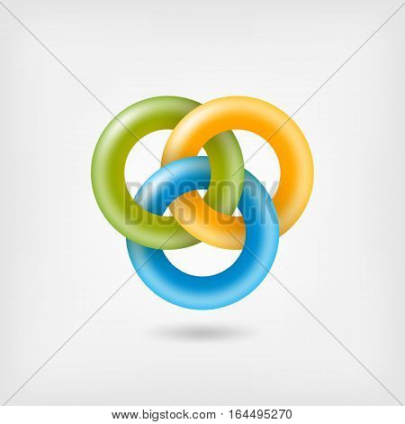 three jelly interlocking rings. vector illustration - eps 10