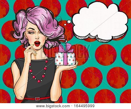 Girl with the gift in vintage style. Pop Art girl. Party invitation.Thinking woman.