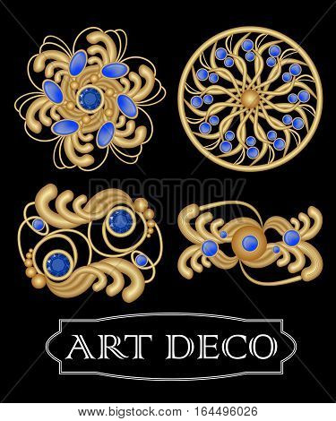 Set of gold filigree brooch with blue gems sapphire in art deco style. Round symmetric retro jewel from gold metal