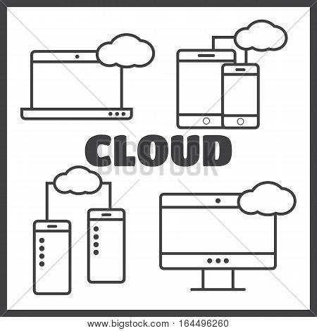 Cloud shapes set cloud icons for computing app