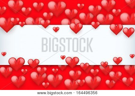 Realistic Red Romantic Hearts Background. Card and Invitation of Happy Valentines Day Greetings. Vector Illustration