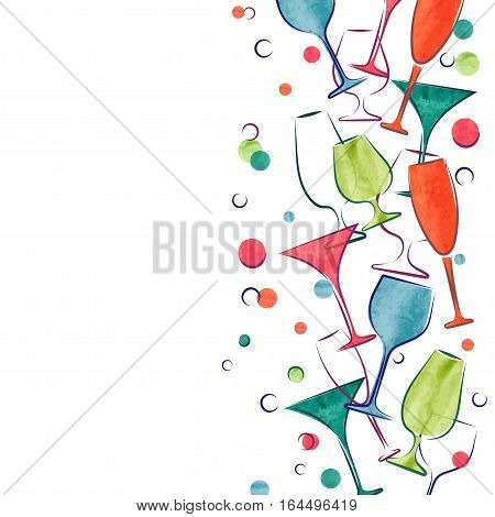 Cocktail party invitation or wine card design. Vector border with colorful cocktail glasses.