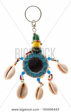 Indian traditional keychain isolated on white background.