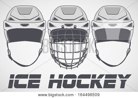 Set of Classic Goalie Hockey Helmet in sketch style. Ice and Grass Field sport. Vector Illustration isolated on background.