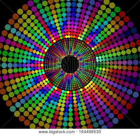 Circle shape composed of rainbow dots on black background cheerful contrasting decoration for disco party festival night club