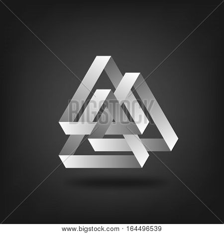 three silver interlocked triangles. vector illustration - eps 10