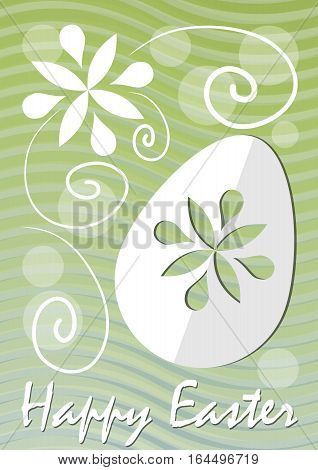 Happy Easter fine green wavy background with easter egg paper cut and white floral motif. Unobtrusive template for postcard easter decoration easter offer leaflet spring poster modern easter flyer