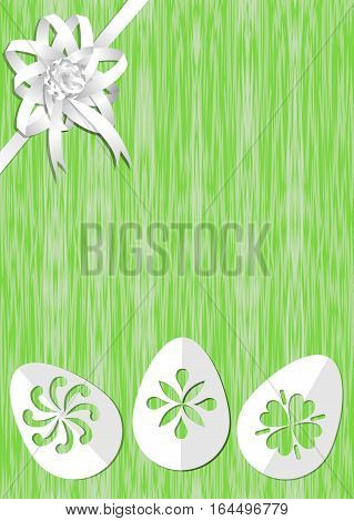 Green easter background with white ribbon rosette on top corner paper cut easter eggs bottom place for own text offer announcement invitation nice easter and spring template