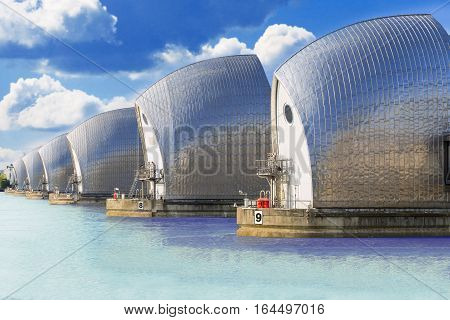 Movable flood barrier in the River Thames. London, UK