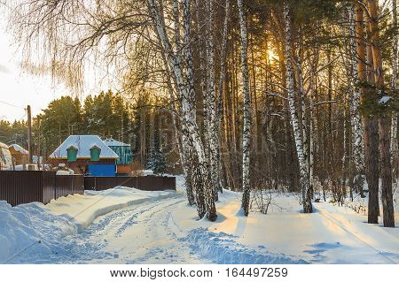 Winter sunset on the snowy village street. Berdsk Novosibirsk oblast Siberia Russia