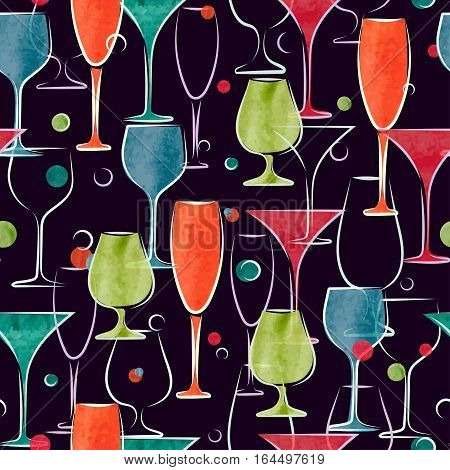 Seamless pattern with colorful cocktail glasses. Vector background.