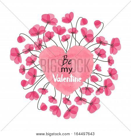 Valentines Day card design with heart and delicate flowers. Vector illustration.