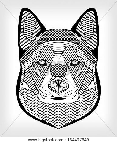 Malamute hound head black and white drawing on gray background. Isolated symmetric head with hatching and patterns. For use as tattoo template club emblem cynology events