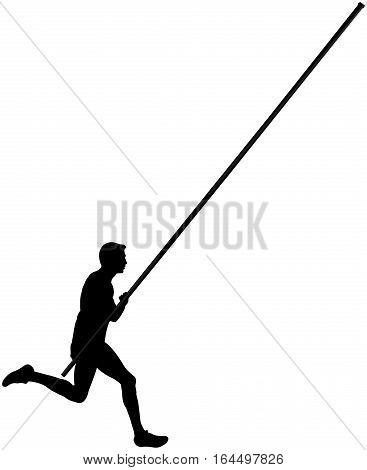 black silhouette running athlete male pole vault