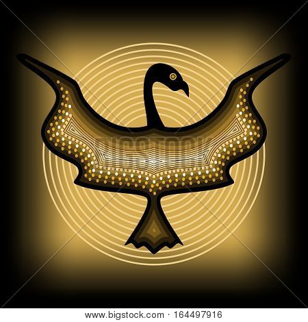 Mythologic ornamental bird silhouette tribal symmetric drawing on black background with gold circles