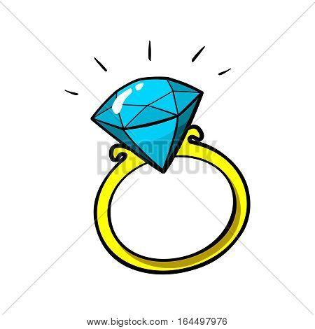 Diamond ring vector patch badge, sticker, pin isolated on white. Vector cartoon blue shine brilliant, adamant, gem stone. Cool luxury illustration. Modern fashion Pop Art comic style 80s 90s