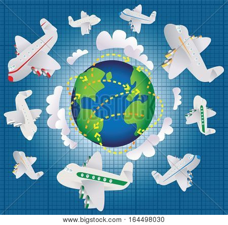 An illustration of air travel around the world.