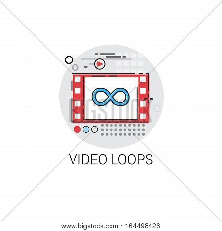 Video Loops Player Multimedia Icon Vector Illustration