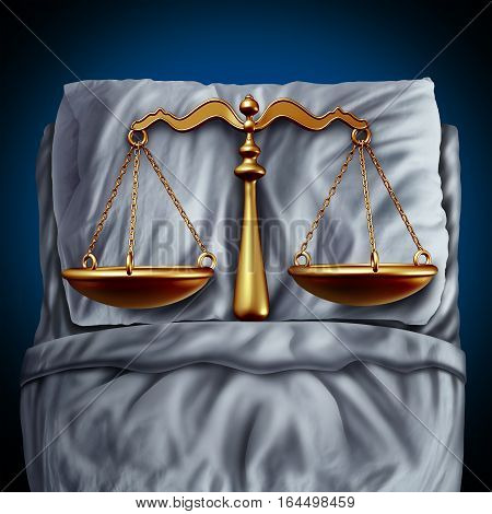 Legal rest and peace of mind due to confidence in the law as a justice scale in bed as a metaphor and symbol for sex or sexual crimes or consent legislation with 3D illustration elements.