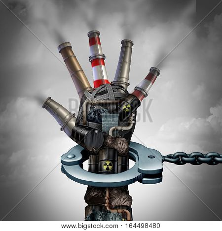 Illegal pollution environmental protection concept as a group of toxic waste and dirty garbage with industrial smoke stacks shaped as a human hand in a handcuff for polluter justice with 3D illustration elements.