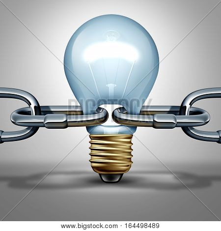 Idea chain concept as an innovation strength and inventive intelligence connection icon or reliable thinking network connection ling as a light bulb shaped as a connector as a 3D illustration.