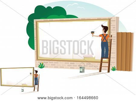 An illustration of a man pasting up a new poster on a billboard. Blank space for your own message.