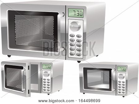 Three illustrations of a typical kitchen microwave oven.