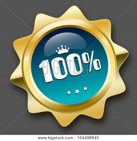 100 years seal or icon with crown symbol. Glossy golden seal or button with stars and turquoise color.