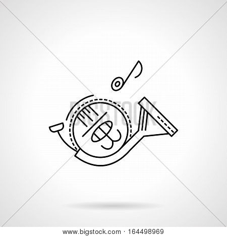 Tunes of symphonic orchestra. Symbol of french horn with single note. Brass wind musical instruments theme. Flat black line vector icon.