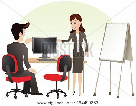 A couple of business people having a meeting, while gesturing at a computer screen. Plenty of blank space for your own message