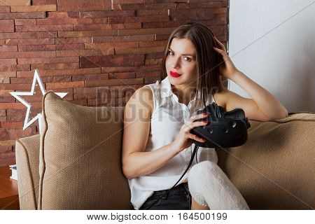 Woman With A Virtual Reality Headset