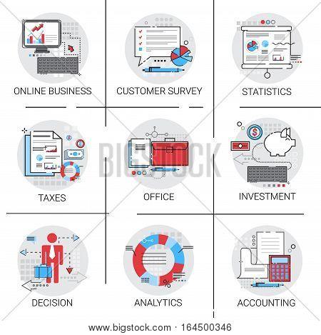 Online Business Analysis Statistics Finance Diagram Office Work Icon Sit Vector Illustration