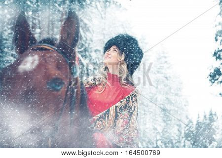 fantastic portrait of the girl astride a horse in the winter in the wood