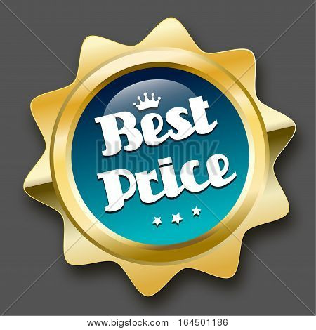 Best price seal or icon with crown symbol. Glossy golden seal or button with stars and turquoise color.
