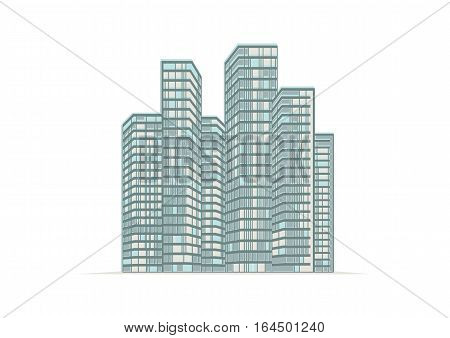 Illustration high-rise buildings of the city.   Illustration high-rise buildings of the city.