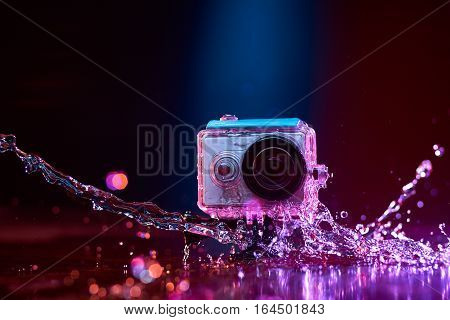 Action Camera Splashed With Water