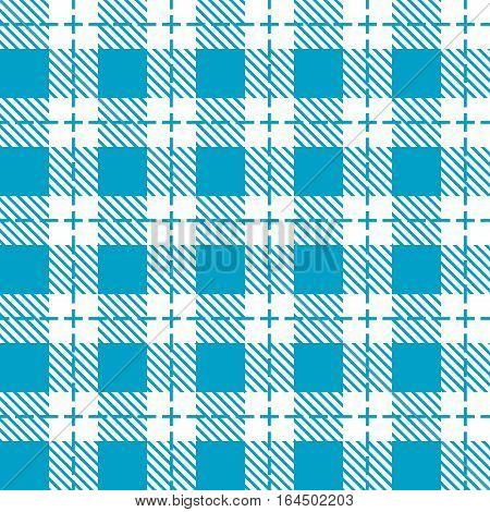 Blue and white tablecloth seamless pattern. Plaid background.
