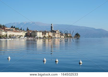 View of Salo town touristic italian location in Lombardy