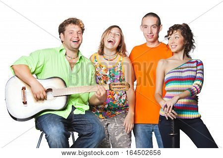 Group portrait of the actor enjoy plays guitar and sing on a white background.