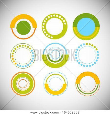 Finance Pie Diagram Circle Infographic with Financial Business Graph Set Vector Illustration