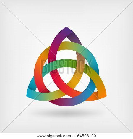 triquetra symbol in rainbow colors. vector illustration - eps 10