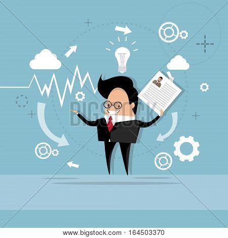 Business Man Curriculum Vitae Recruitment Candidate Job Position, CV Profile Flat Vector Illustration