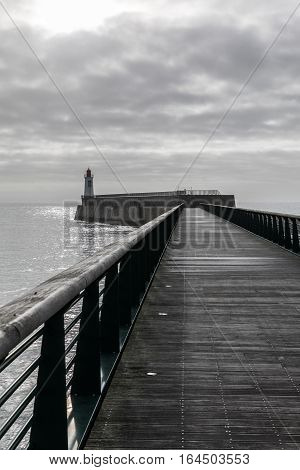 Footbridge of the jetty of la Chaume district of Les Sables d'Olonne, France