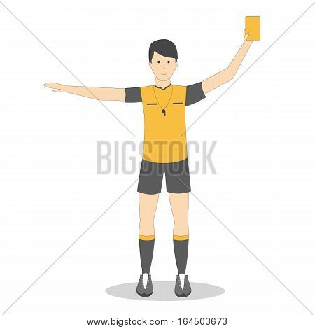 Isolated football player with yellow card on white background. Soccer player. Man in uniform.