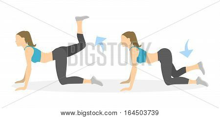 Donkey kicks exercise for legs on white background. Healthy lifestyle. Workout for legs. Exercises for women.