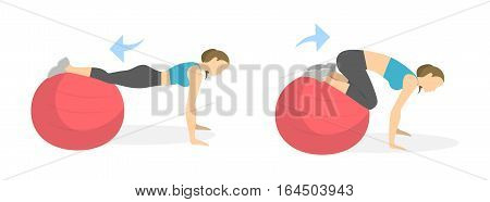 Abs exercise for women on white background. Crossfit and fitness. Workout on fit ball.