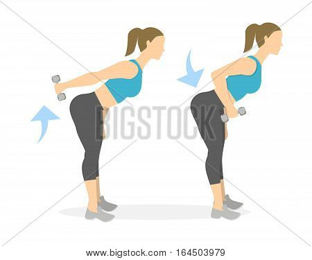 Back exercise for women on white background. Crossfit and fitness. Deadlift with weights.