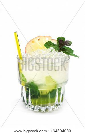 Mint, Lemon, Apple Fruit Alcohol Cocktail Isolated