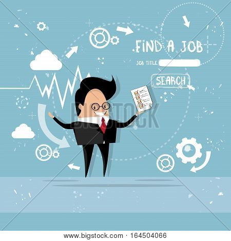 Business Man Curriculum Vitae Recruitment Candidate Job Position, CV Profile Check List Flat Vector Illustration